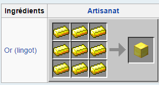 Minecraft artisanat Or
